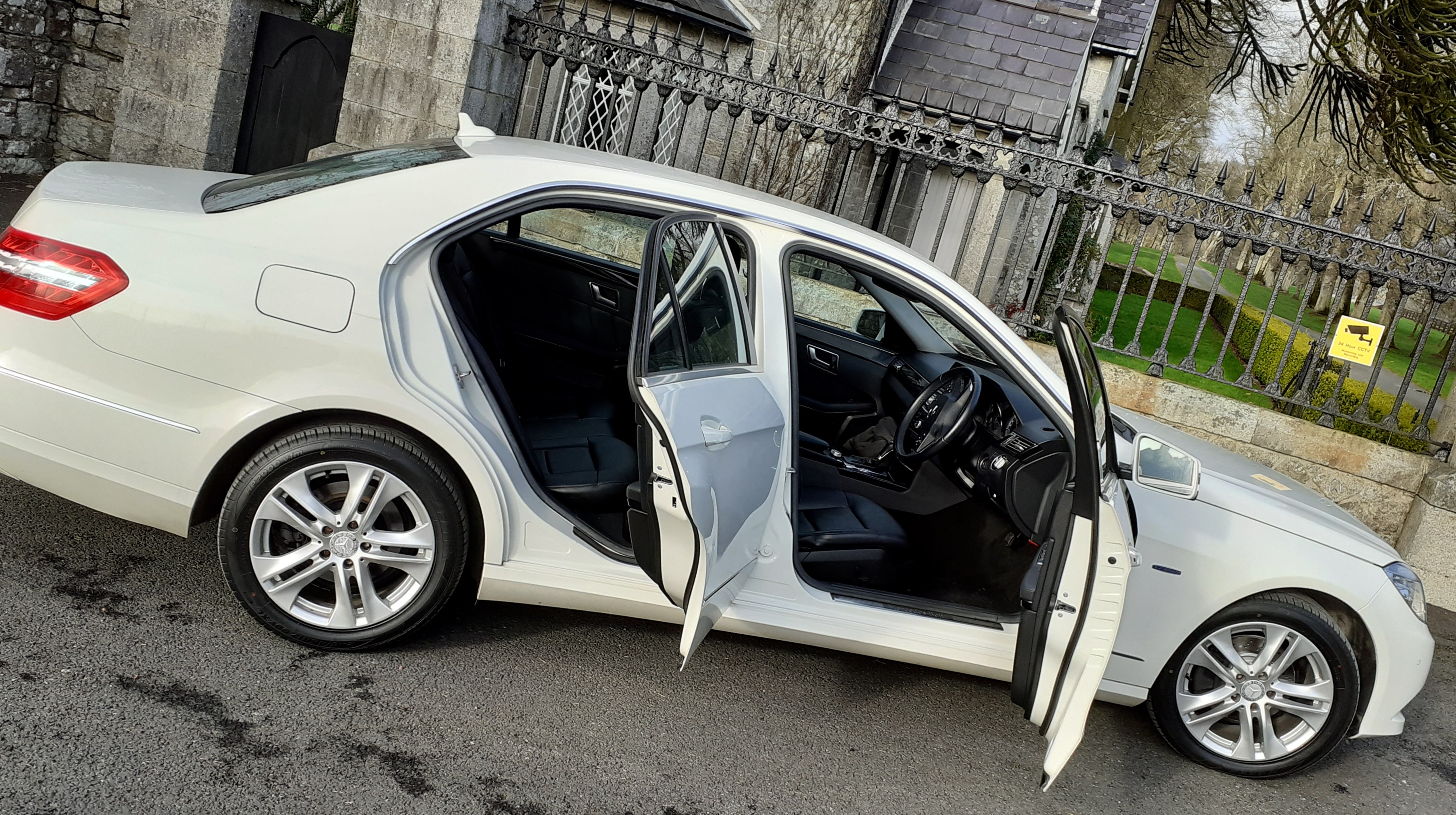 Our Mercedes E200, for contemporary white wedding car hire
