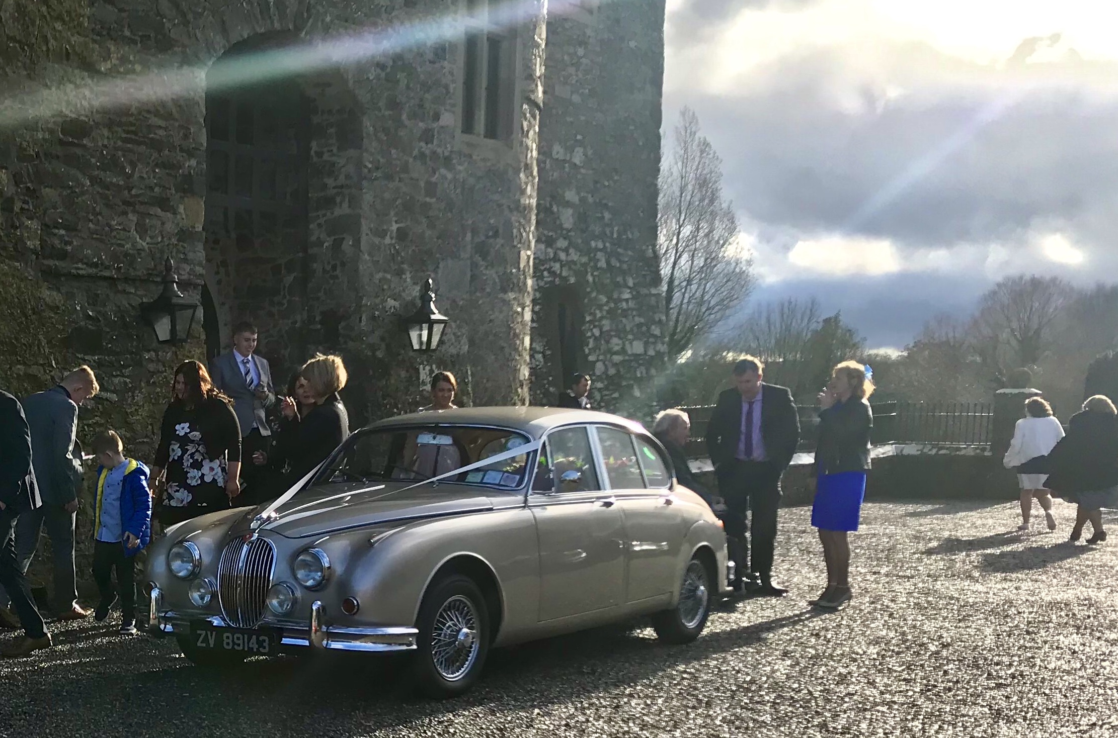 Wedding Day with our golden Class Jaguar wedding car