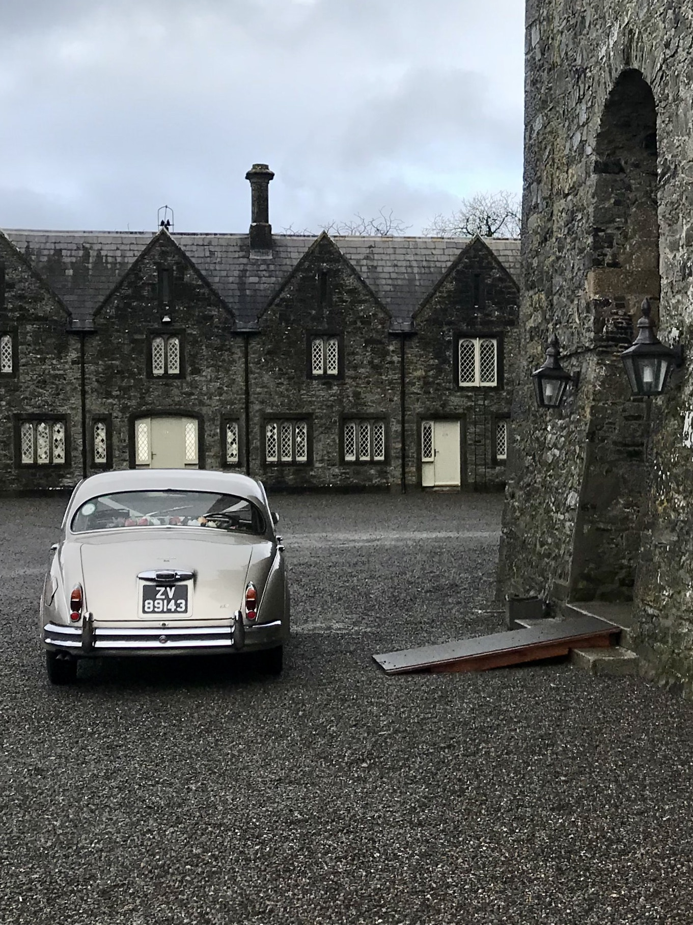 Wedding Day at Kilkea Castle with one of our Jaguar wedding cars