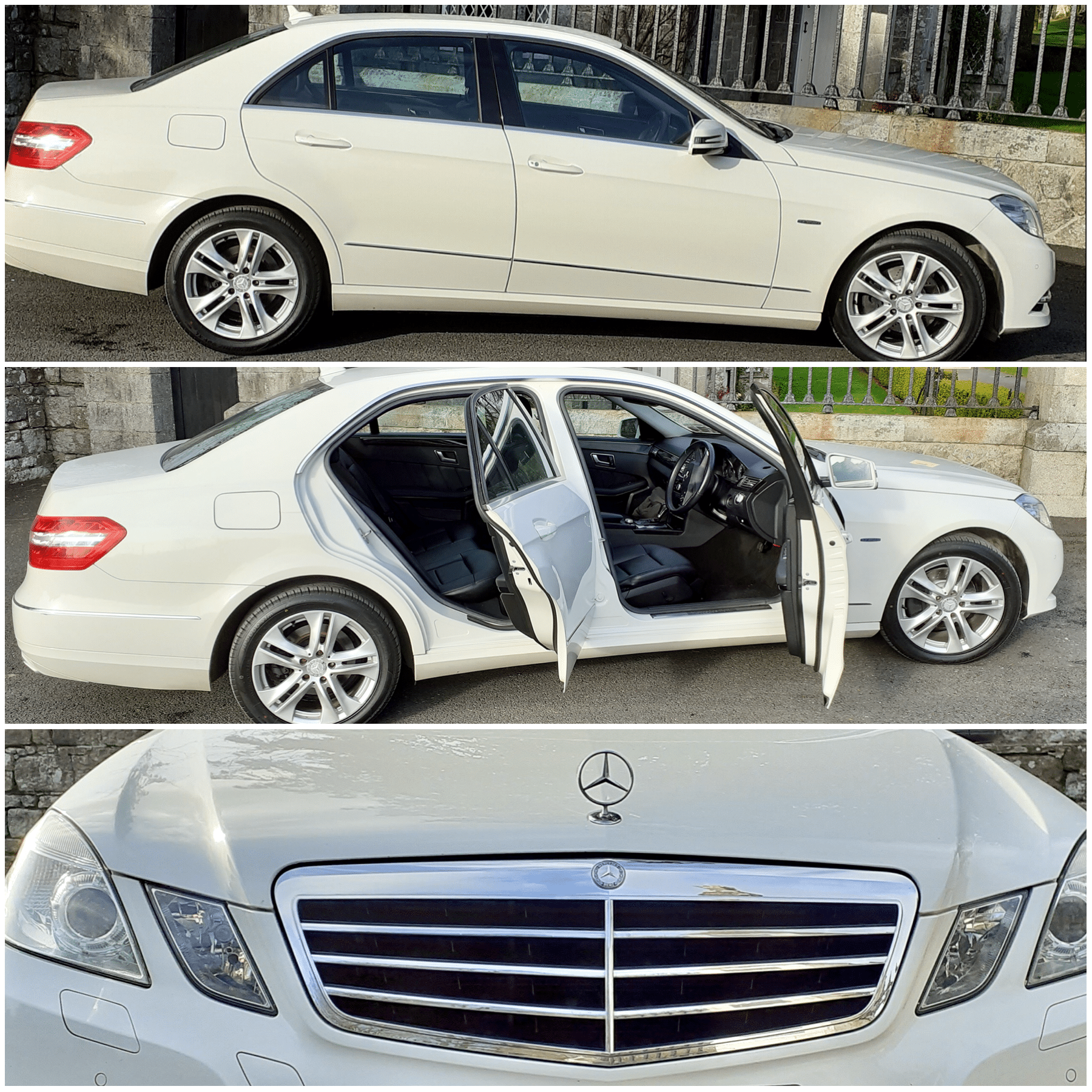 A Mercedes E200, one of our white wedding cars