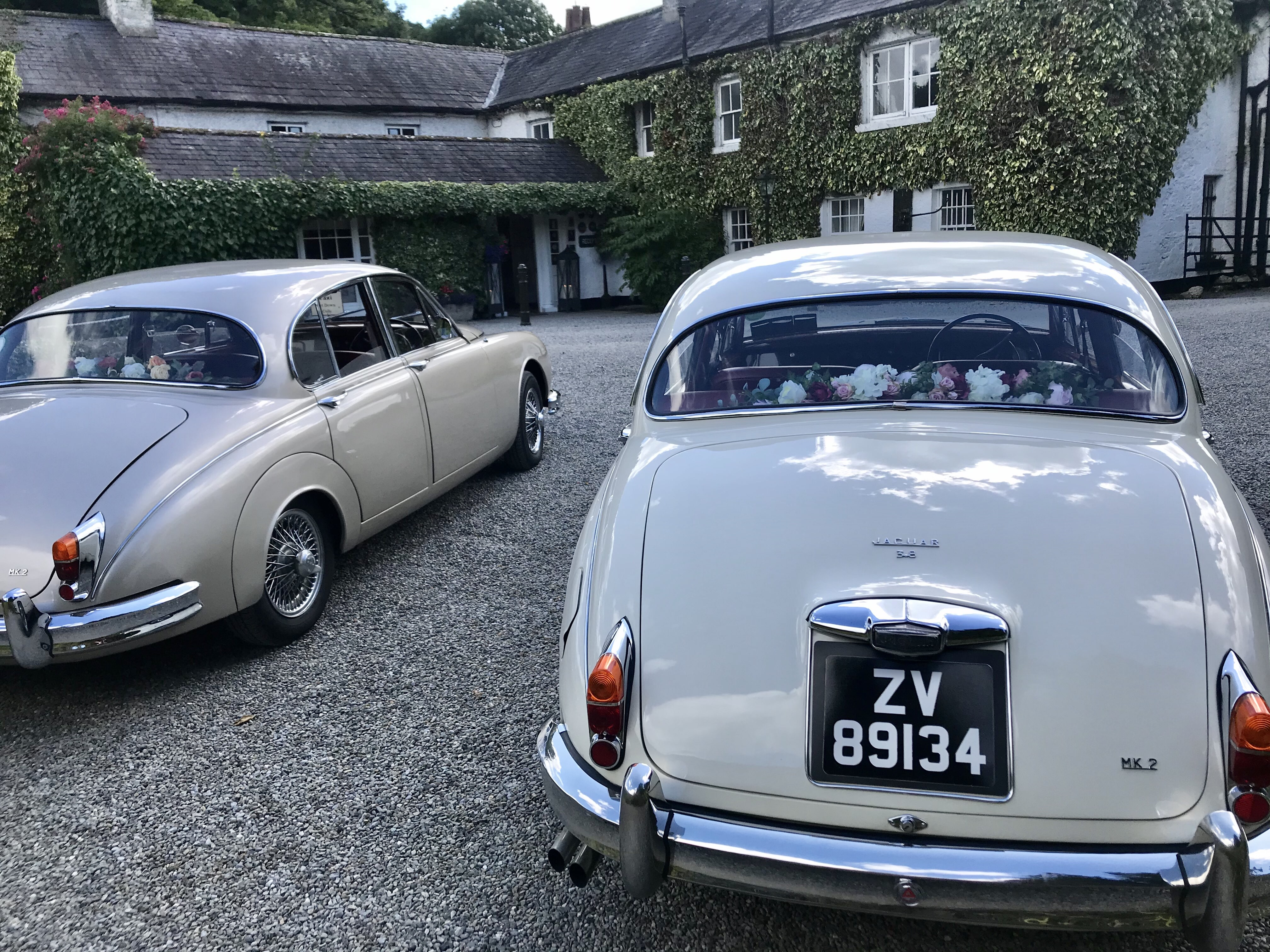 At Rathsallagh House wedding venue with our Classic Jaguars