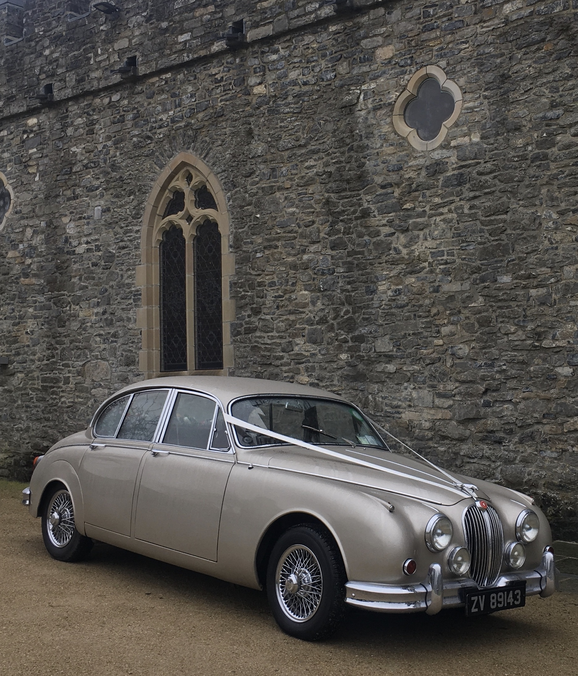 "One of our beautiful Jaguar Wedding Cars at Sword's Castle, Dublin ""width="