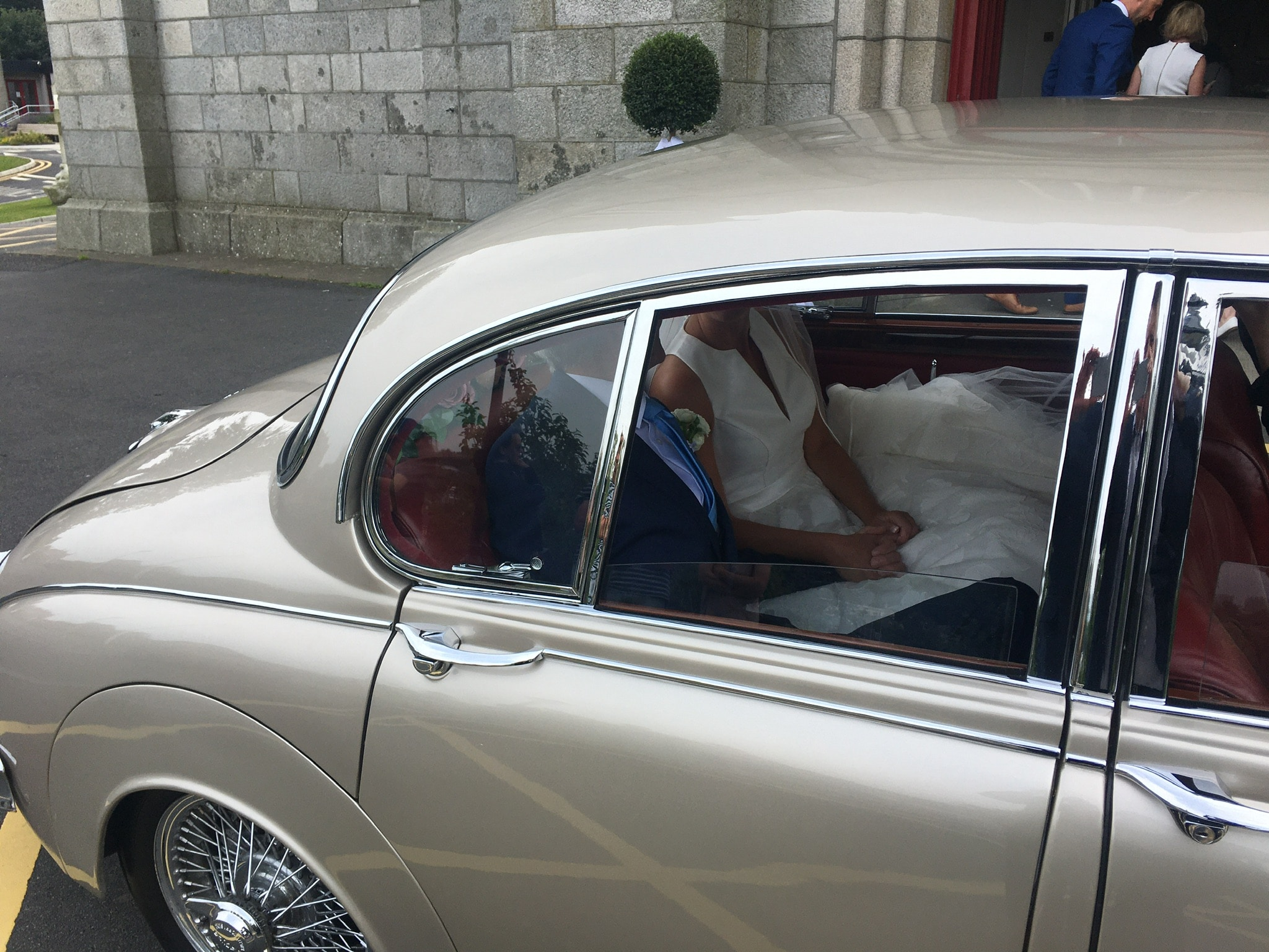 "One of our vintage wedding cars at Foxrock Church Dublin""width="