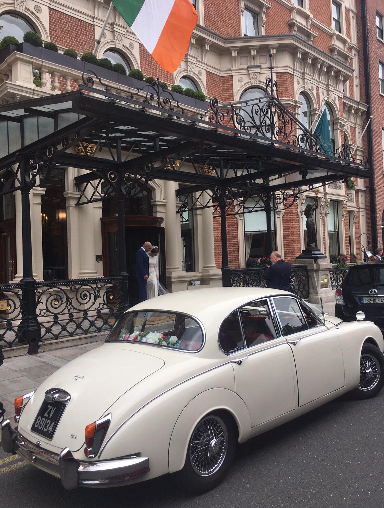 "One of our beautiful Jaguar vintage wedding Cars""width="